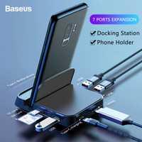 Baseus 15W USB tipo C HUB estación Dock para Samsung S10 para Dex Pad estación USB a HDMI Dock adaptador de corriente para Huawei P30 P20 Pro