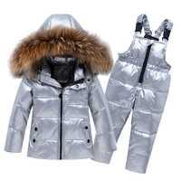 Enfants enfant en bas âge fille garçon vêtements hiver ensemble grande fourrure naturelle-25 argent doudoune Ski costume coupe-vent chaud enfant infantile tenue