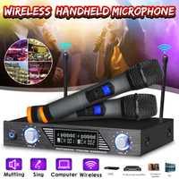 Système professionnel sans fil de Microphone de micro tenu dans la main de double canal de 2 canaux pour des lecteurs de musique de karaoké de Studio