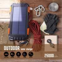 Banco de energía Solar impermeable 30000mAh cargador 2 USB cargador externo Powerbank para Xaiaomi Iphone Huawei todos los teléfonos LED Poverbank