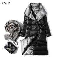 FTLZZ doudoune Ultra légère femmes hiver Double face mince blanc duvet de canard manteau simple boutonnage col roulé Parkas chauds