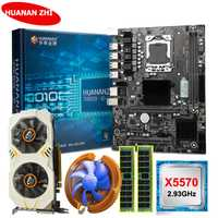 HUANANZHI X58 LGA1366 carte mère bundle carte mère avec CPU Intel Xeon X5570 2.93GHz RAM 8G (2*4G) RECC GTX750Ti 2G carte vidéo