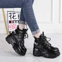 SWONCO chaussures en cuir véritable baskets femmes chaussures décontractées noir 2019 automne/printemps femme mode baskets plate-forme talon Chunky