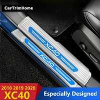 Accessoires en acier inoxydable xc40 pour Volvo XC40 2018 2019 2020 seuil de porte plaque de seuil garnitures de pédale style de voiture