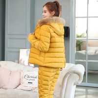 2019 mode hiver femmes chaud neige ensemble à capuche Parka manteau + pantalon survêtement deux pièces ensemble femme vers le bas coton veste costume pour les femmes
