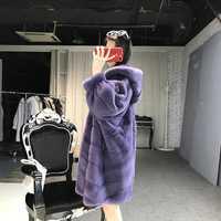 Abrigo de piel Real para mujer abrigo de piel de visón de invierno chaqueta gruesa de talla grande calidad superior con capucha prendas de vestir Casaco Inverno 1506 MF335