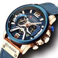 Relojes Curren para hombre, cronógrafo de lujo de marca, reloj de cuero de lujo impermeable, reloj deportivo para hombre, reloj de pulsera para hombre