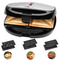 Clatronic ST 3670 Sandwichera placas intercambiables, Sandwich tostadora, Gofrera gofres belgas, Grill Plancha carne pescados