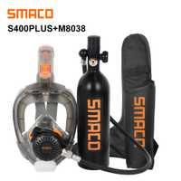 Mini tanque de buceo SMACO y combinación de máscara de buceo, respiración libre bajo el agua durante 16 minutos