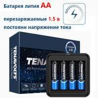 NANFU 4 pièces/ensemble avec chargeur de batterie TENAVOLTS AA batterie Rechargeable 2775 mWh Lithium Li-ion Batteries haute capacité [RU]