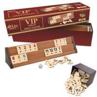 Jeu de société V.I.P Okey Rummy en bois 4x ponts et qualité 106x jeu de puces V.I.P