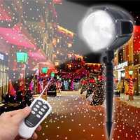 Smuxi giratorio Snowfall LED proyector láser luz exterior/interior móvil nieve paisaje focos con control remoto