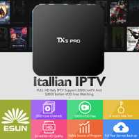 1 año ESUNTV en TX5PRO inteligente IPTV Set Top Box TV Android 2/16G Quad Core Europa IPTV Italia IPTV Albania ex yu canales caja
