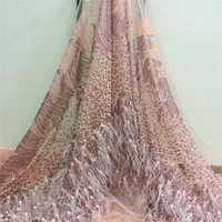 Último diseño Daby Rosa tul lentejuelas y tela de encaje de plumas para novia noche espectáculo vestidos costura artesanía nueva moda A1023-1