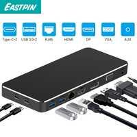 EastpinUSB C múltiples en un adaptador de USB-C a HDMI/VGA/RJ45/PD/AUX adaptador para macBook Samsung Galaxy S10 Huawei Mate P20 Pro