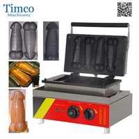 Máquina de gofres eléctrica para perros calientes 4 Uds con forma de pene