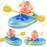 YETAA un reloj en el cuarto de baño de bebé de dibujos animados baño de ducha juguetes de viento de plástico hasta remo cerdo baño juguetes de animales juguetes de agua para los niños