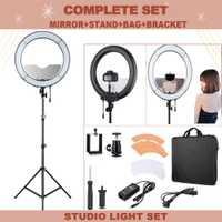 Fotopal dimmable LED anillo de luz para maquillaje anillo teléfono video luz para Kits de estudio de fotografía lámpara LED con espejo y trípode