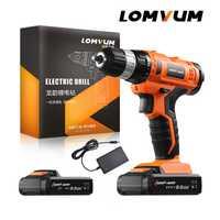 LOMVUM destornillador eléctrico inalámbrico batería De litio recargable taladro Mini Kit De perforación Furadeira tornillo arma Furadeira De impacto