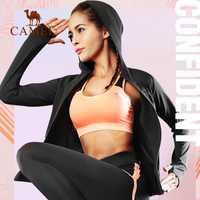 Camello 5 unidades de las mujeres corriendo Fitness traje de Yoga traje de las mujeres abrigo + T-camisas + Pantalones sujetador + + Pantalones cortos para deporte ropa