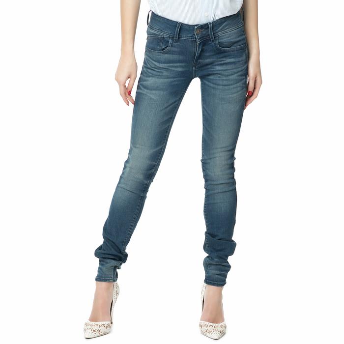 G-STAR RAW - Γυναικείο τζιν παντελόνι LYNN MID SKINNY μπλε με ξεβάμματα
