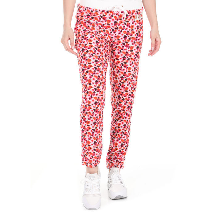 JUICY COUTURE - Γυναικείο casual παντελόνι JUICY COUTURE MARINA FLORAL SLIM ροζ πορτοκαλί