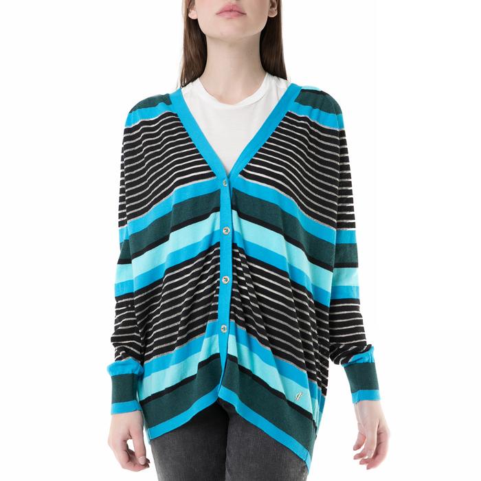 JUICY COUTURE - Γυναικεία ριγέ ζακέτα berenson stripe long card Juicy Couture μπλε