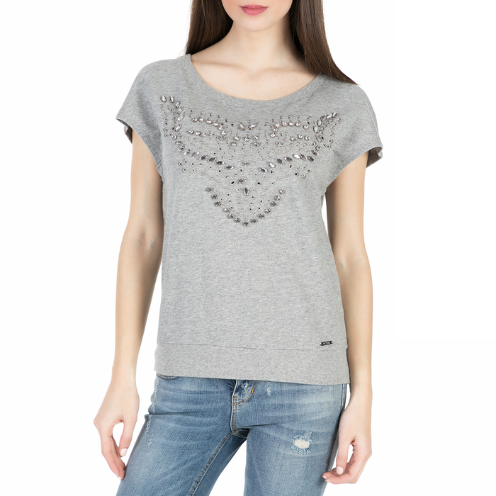 GUESS - Γυναικείο t-shirt Guess ZURIA FLEECE - HEARTY FLEECE γκρι