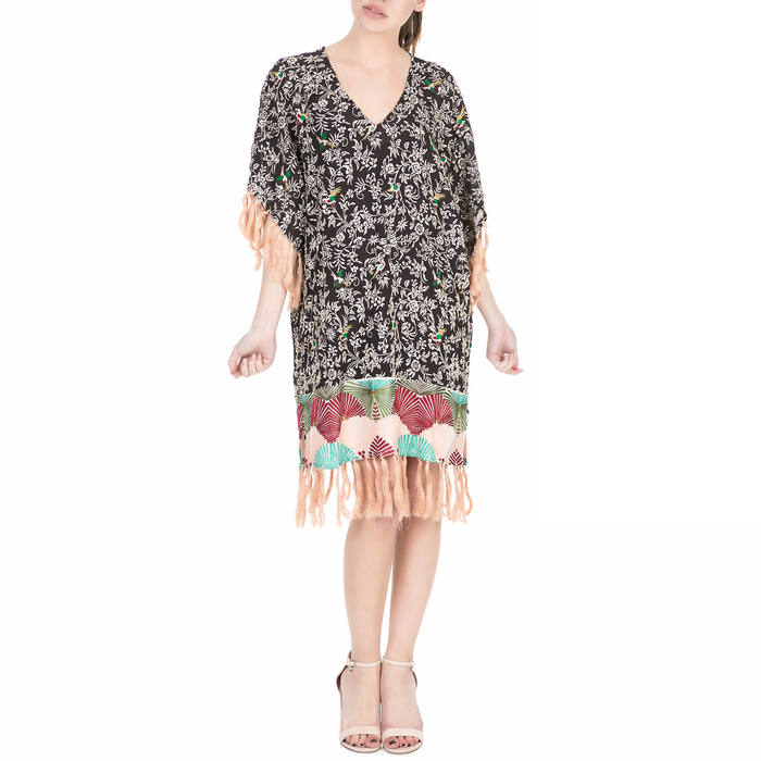 SCOTCH & SODA - Γυναικείο midi φόρεμα Scotch & Soda Silky feel kimono dress εμπριμέ