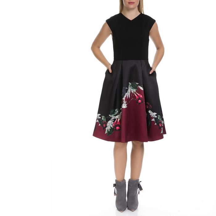 TED BAKER - Γυναικείο φόρεμα MHIA TED BAKER μαύρο-εμπριμέ