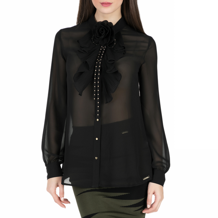 GUESS - Γυναικείο μακρυμάνικο πουκάμισο Guess GINETTE μαύρο ημιδιαφανές