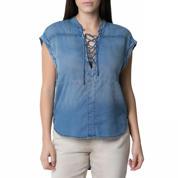 SCOTCH & SODA - Γυναικεία αμάνικη τζιν πουκαμίσα Scotch & Soda μπλε