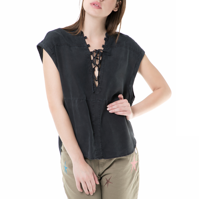 SCOTCH & SODA - Γυναικεία αμάνικη πουκαμίσα SCOTCH & SODA μαύρη