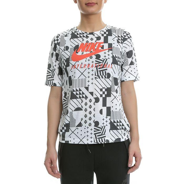 NIKE - Γυναικεία κοντομάνικη μπλούζα Nike λευκή - μαύρη