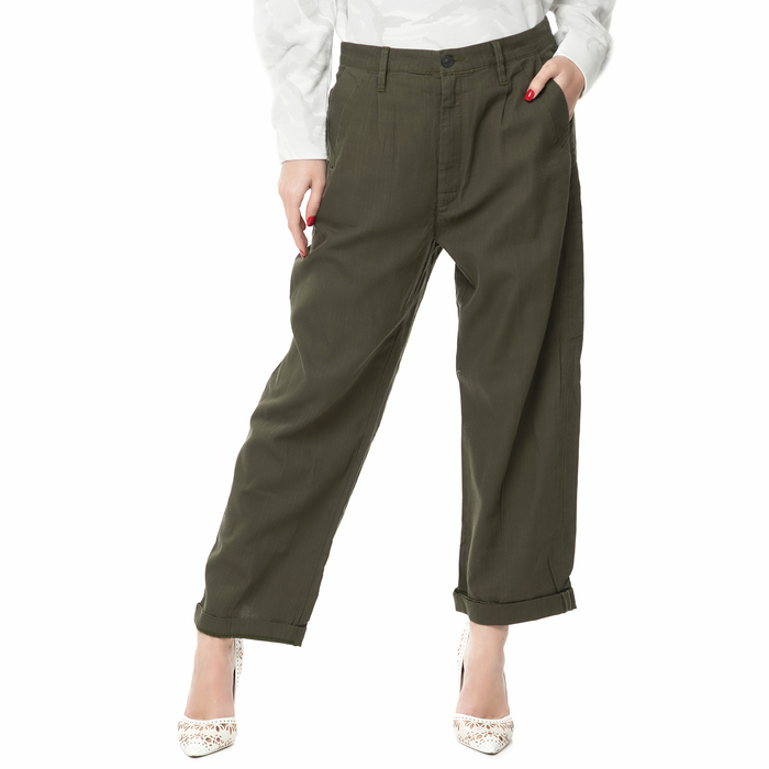 G-STAR RAW - Γυναικείο ψηλόμεσο παντελόνι Bristum Mid 3D Loose χακί