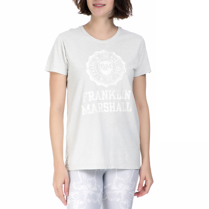 FRANKLIN & MARSHALL - Γυναικεία κοντομάνικη μπλούζα Franklin & Marshall λευκή