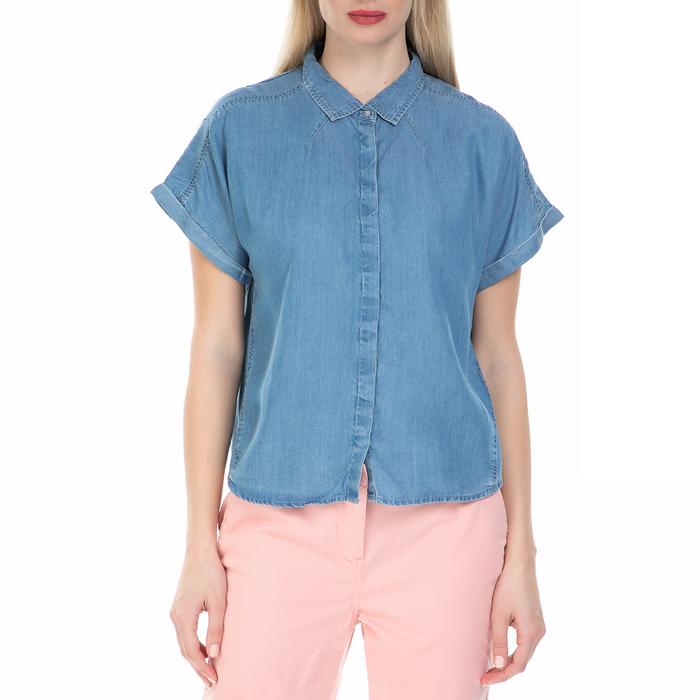 CALVIN KLEIN JEANS - Γυναικείο τζιν πουκάμισο με κρυφά κουμπιά Calvin Klein Jeans μπλε
