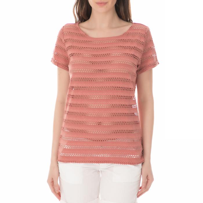 GARCIA JEANS - Γυναικεία κοντομάνικη μπλούζα GARCIA JEANS κοραλί