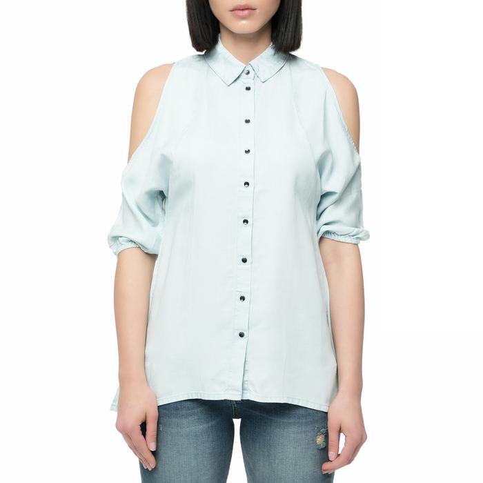 GUESS - Γυναικείο κοντομάνικο πουκάμισο Guess EXPOSED SHOULDER γαλάζιο