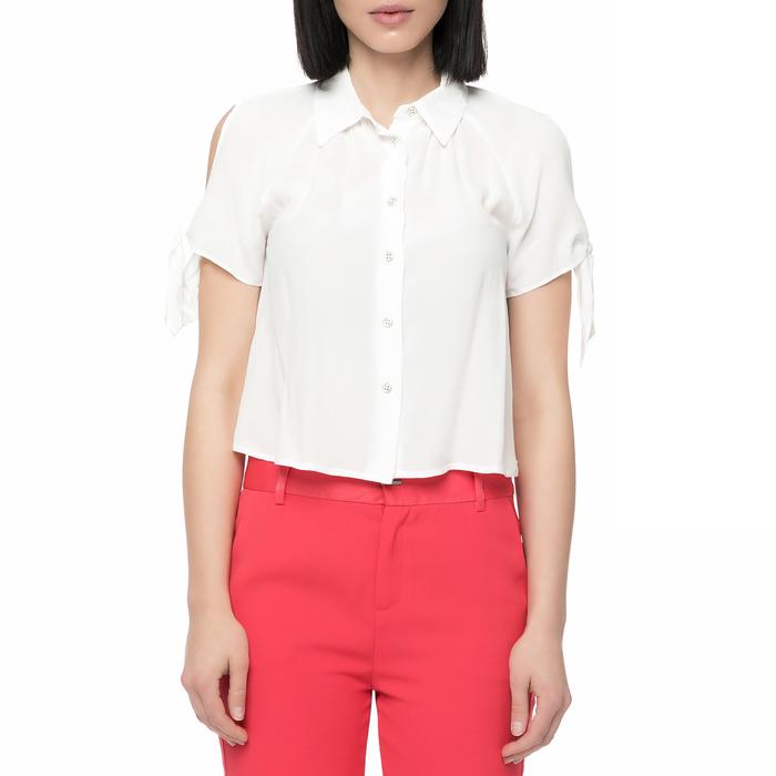 GUESS - Γυναικείο κοντομάνικο πουκάμισο Guess PATI CREPE FLUID λευκό