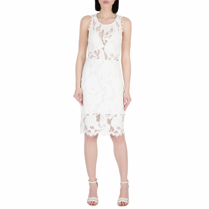 GUESS - Γυναικείο midi φόρεμα με δαντέλα Guess ALIKI λευκό