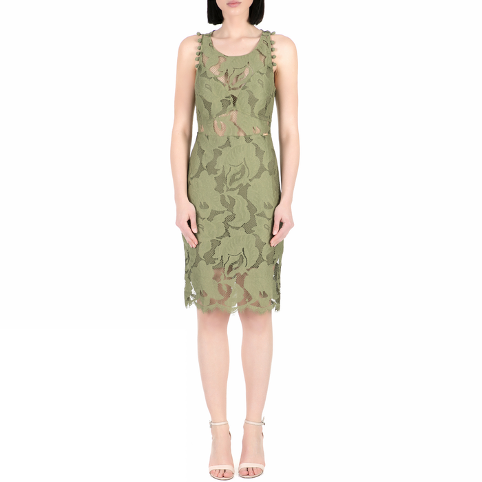 GUESS - Γυναικείο midi φόρεμα με δαντέλα Guess ALIKI χακί