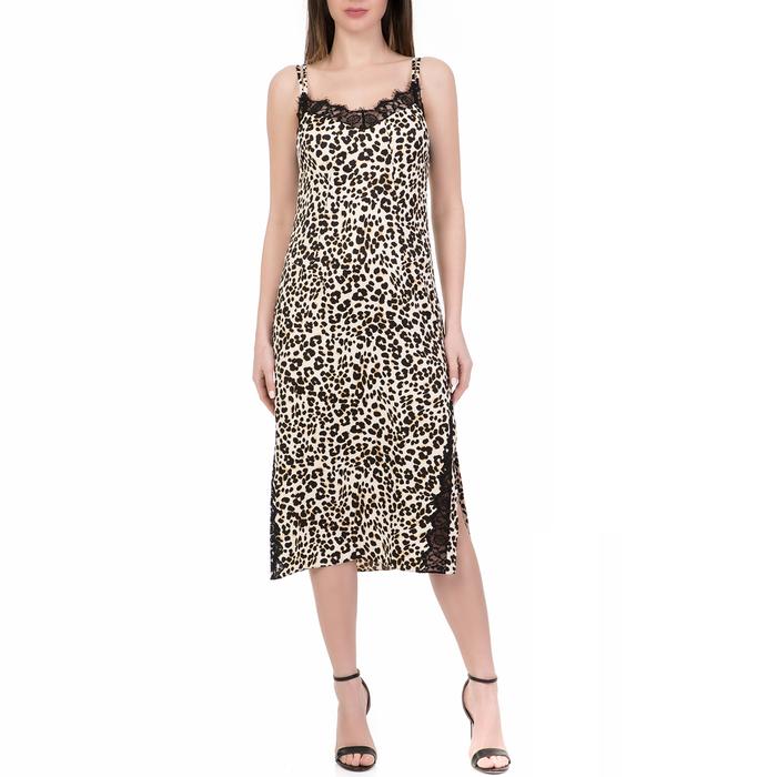 JUICY COUTURE - Γυναικείο midi φόρεμα DUCHESS SATIN SLIP λεοπάρ