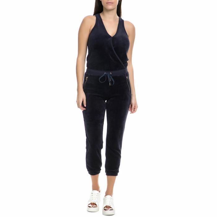 JUICY COUTURE - Γυναικεία ολόσωμη φόρμα βελουτέ Juicy Couture σκούρη μπλε