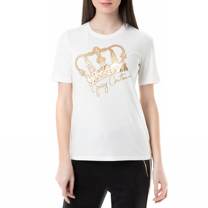JUICY COUTURE - Γυναικεία κοντομάνικη μπλούζα heritage crow easy crew Juicy Couture λευκή