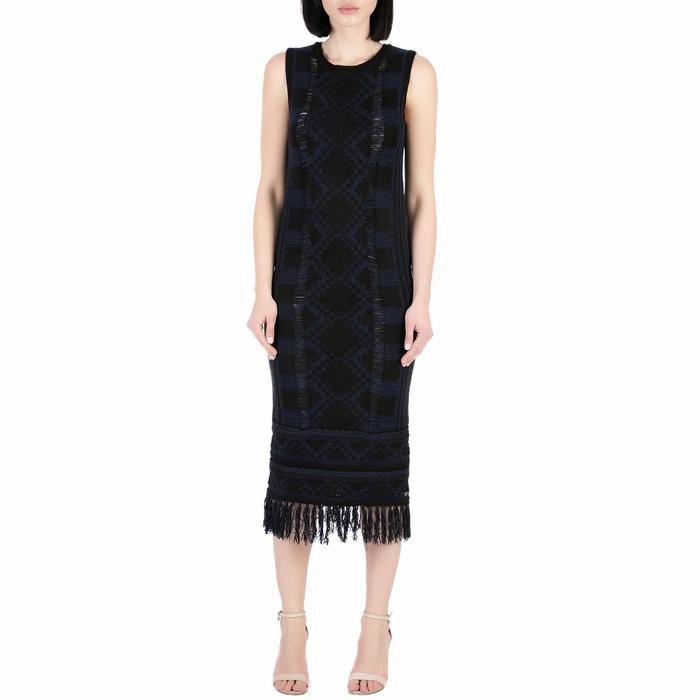 SCOTCH & SODA - Γυναικείο midi φόρεμα Scotch & Soda Basket weave inspired knit tan μάυρο - μπλε