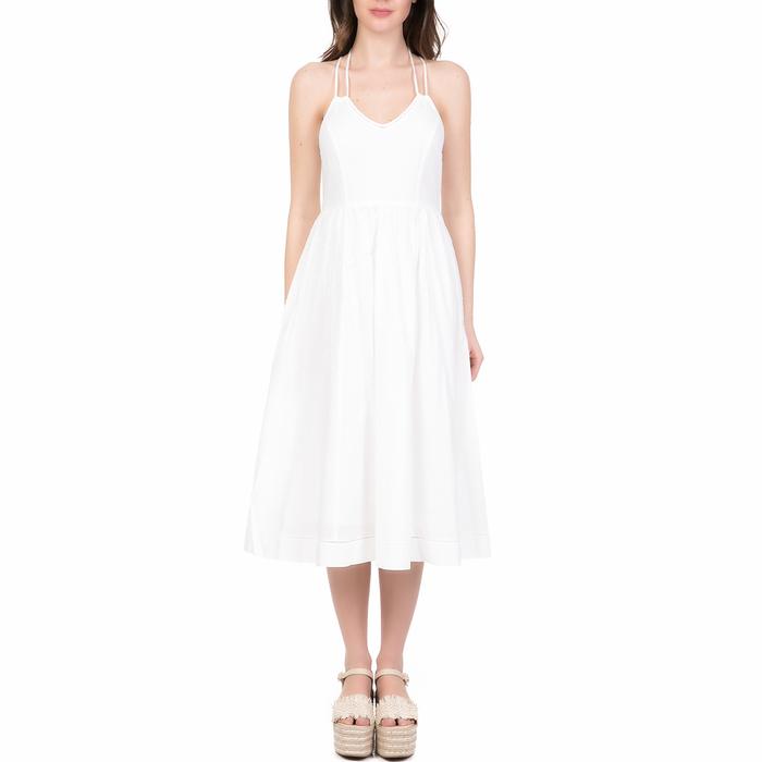 JUICY COUTURE - Γυναικείο midi φόρεμα DOBBY JUICY COUTURE λευκό