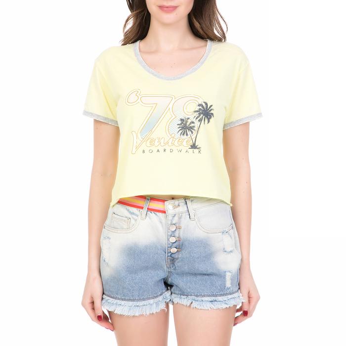 JUICY COUTURE - Γυναικεία κοντομάνικη μπλούζα KNT '78 VENICE JUICY COUTURE κίτρινη