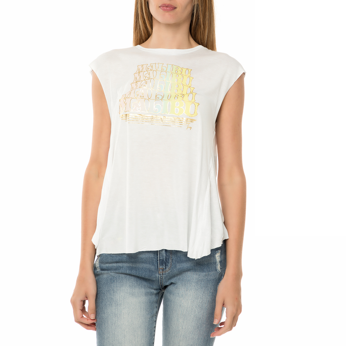 JUICY COUTURE - Γυναικεία αμάνικη μπλούζα JUICY COUTURE KNT MALIBU CROSS BACK TEE λευκή