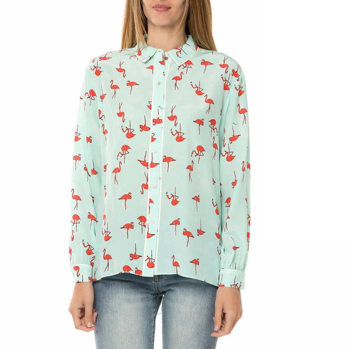 JUICY COUTURE - Γυναικείο μακρυμάνικο πουκάμισο JUICY COUTURE SW FLAMINGO γαλάζιο με print